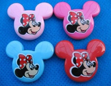 4 X 32MM MINNIE MOUSE FLAT BACK RESIN 4 COLOURS RED PINK BLUE HEADBANDS BOWS CARD MAKING